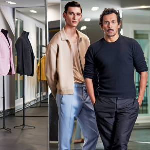 Berluti creative director Haider Ackermann (right) at Berluti's Paris headquarters, with model Thibaud Charon wearing items from the Berluti spring/summer 2018 collection. Silk/cottonzip-up jacket, £1,310, and wool/silktrousers, £620