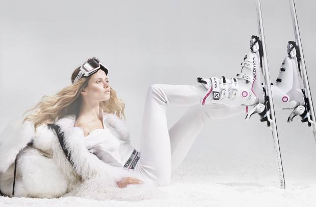 Philipp Plein Mongolian goat shearling coat, from £4,665, and fox fur and leather backpack, from £6,148. Moschino ribbed cotton top, £75, and matching leggings, £70. Dior ski goggles, about £300. Salomon X Max 70 ski boots, £250. Atomic Cloud 8 skis, £315
