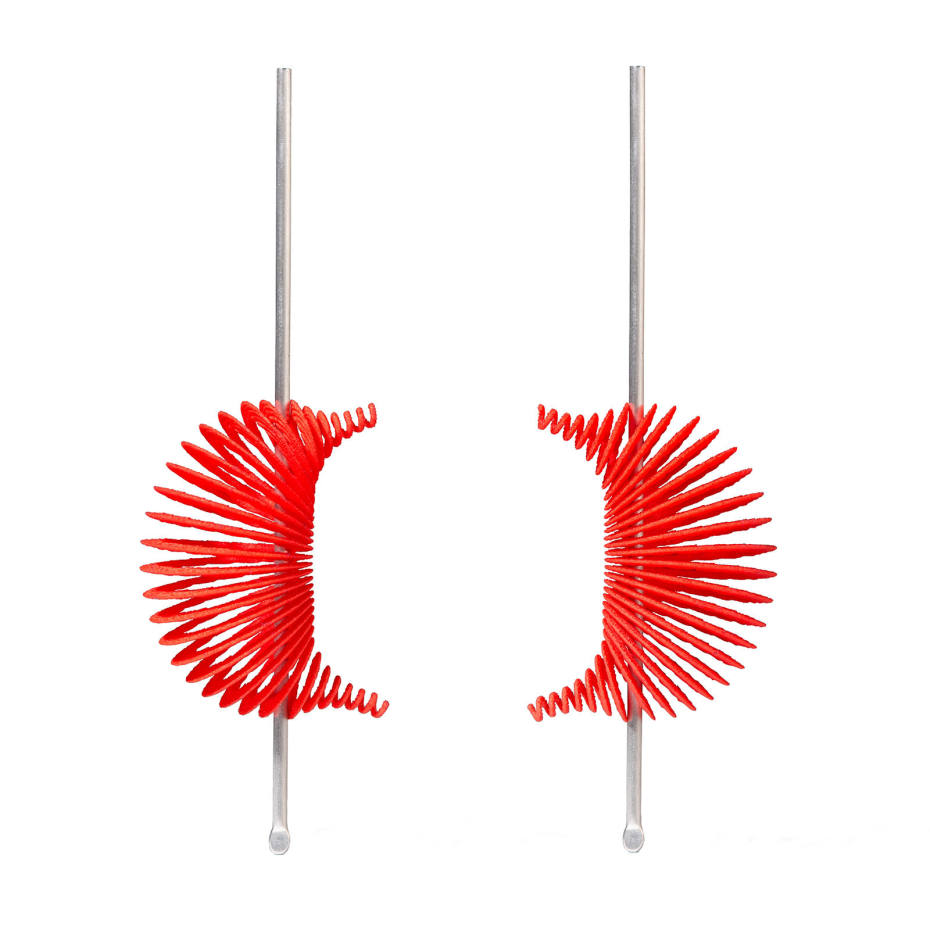 Ron Arad silver and red laser-sintered polyamide Hot Ingo earrings, £1,300