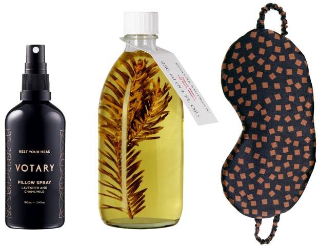 From left: Votary pillow spray, £35. Susanne Kaufmann bath oil, £50 for 250ml, spacenk.com. Asceno eye mask, £55