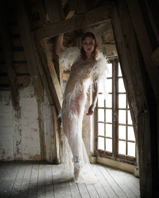 Francesco Scognamiglio Haute Couture feather, tulle and Swarovski crystal gown, price on request. Bloch satin Pointe shoes, £80. Aadnevik leather ankle piece designed by Elad Bitton, price on request
