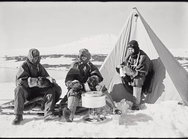 Three of Scott's team on February 7 1911.