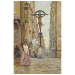Street Scene in Naples by Vincenzo Migliaro (estimate £2,000-£3,000)