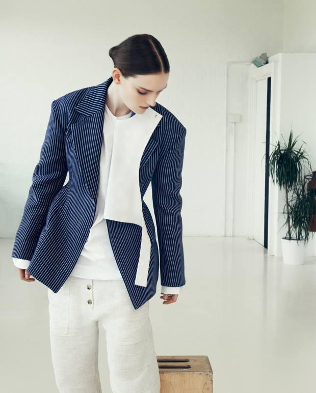 Céline double face wool/cotton pinstripe jacket, about £1,800, cotton poplin Front Armour shirt, about £575, and linen voile trousers, about £700