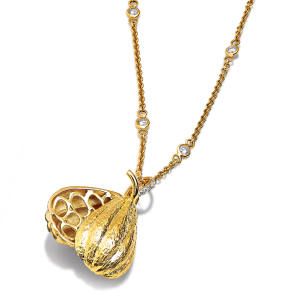 Gold cocoa-pod pendant, £1,890 not including chain; 10 per cent of proceeds goes to Islands Chocolate's St Vincent project