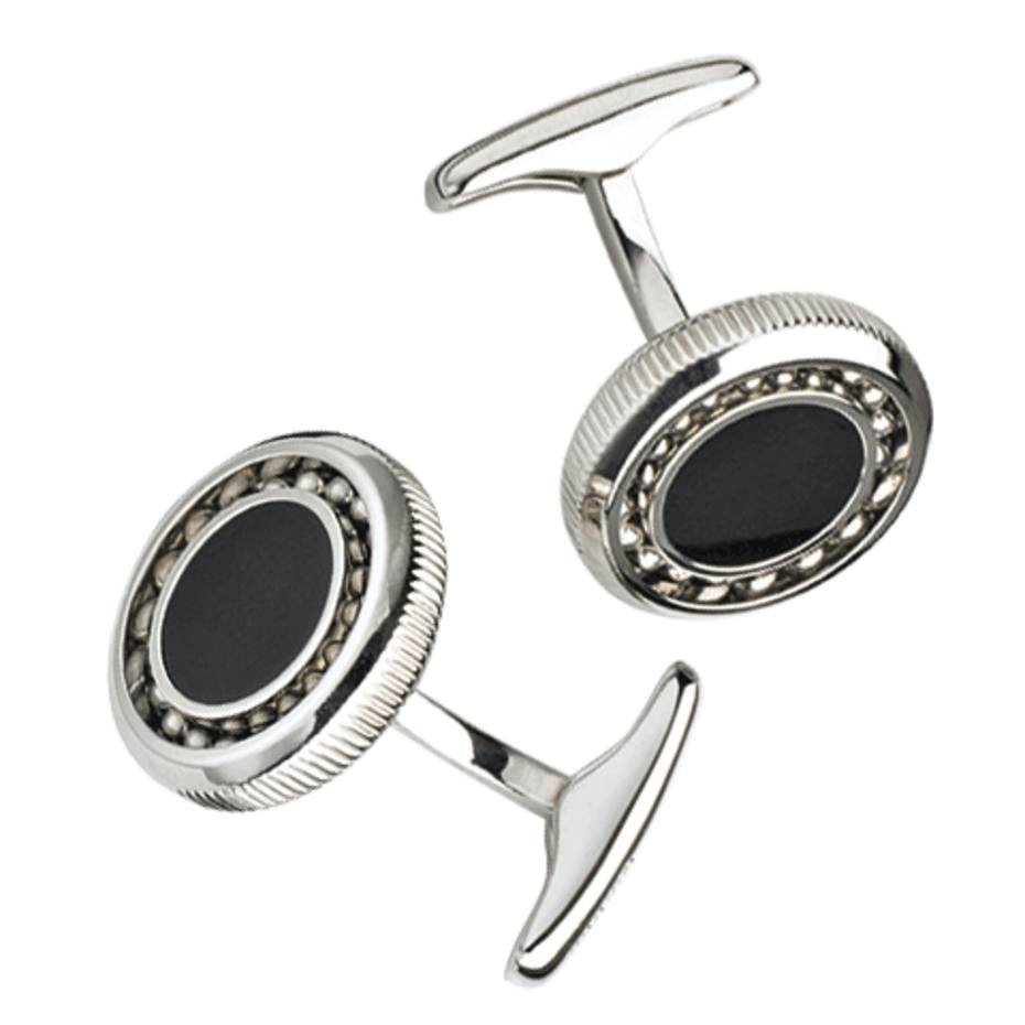 Dunhill Ball Bearing cufflinks in onyx and stainless steel, £250. Also in other materials