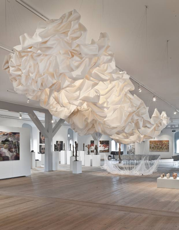 Woven-wool Draped Nimbostratus installation by Cecilie Bendixen, price on request