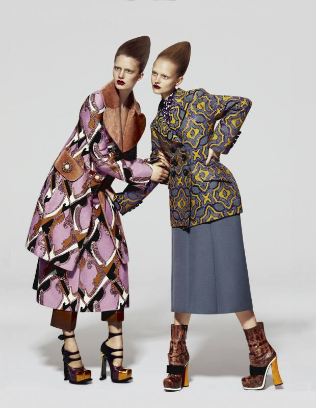 Maria (left) wears wool jacquard coat with fur details, £2,620, matching dress, £2,250, silk trousers, £1,360, and calf-leather shoes, £776, all by Louis Vuitton. Anni (right) wears wool/silk jacquard jacket, £1,700, cotton shirt, £470, and wool skirt, £765, all by Marc Jacobs. Lizard-skin boots with suede heel and satin bow, £1,635, by Miu MiuLouis Vuitton, 17-19 New Bond Street, London W1 (020-7399 3856; www.louisvuitton.com) and branches/stockists. Marc Jacobs, 020-7399 1690; www.marcjacobs.com. Miu Miu, 150 New Bond Street, London W1 (020-7409 0900; www.miumiu.com) and branches/stockists.