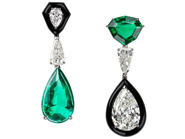Nikos Koulis white gold, emerald, diamond and enamel mismatched earrings, price on request