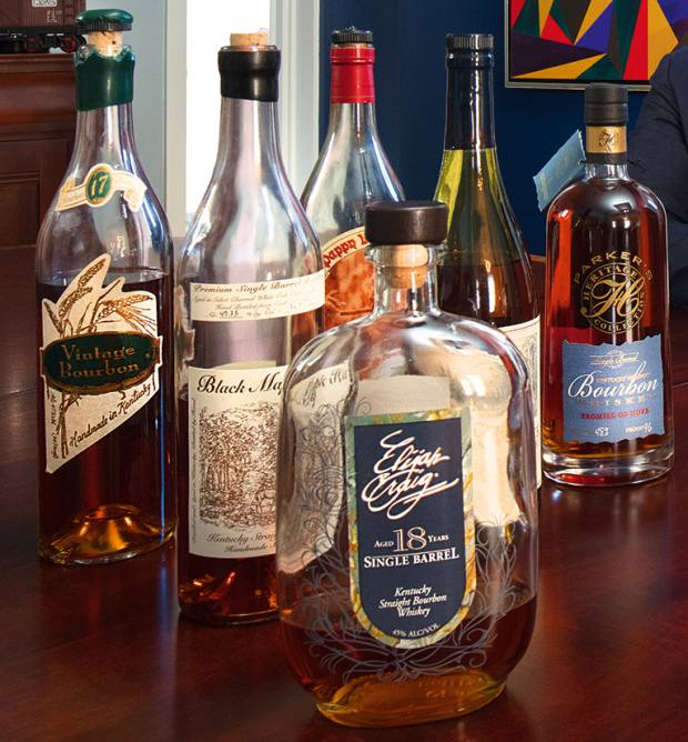 From left: 17yo Vintage Bourbon, about £200. 23yo Black Maple Hill, about £3,000. 18yo Elijah Craig, about £120-£400. 15yo Noah's Mill, about £160. Limited edition Parker Beam Promise of Hope, about £300
