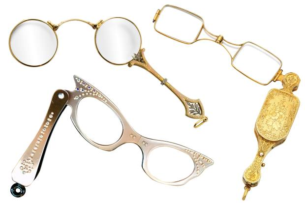 Clockwise from top left: c1915 Cartier gold, diamond and enamel lorgnette, £17,500 from Bentley & Skinner. c1900 Patek Philippe gold lorgnette, sold for £10,000, at Sotheby's. c1940s lorgnette with rhinestones, £200 from Specstacular