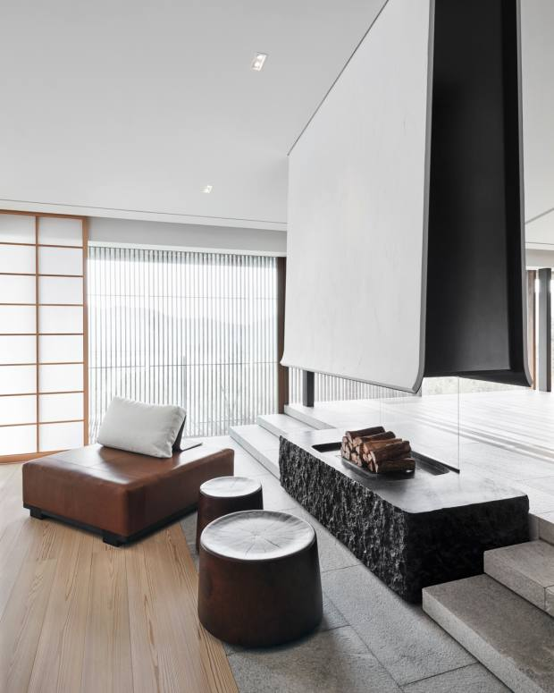 The pared-back rooms of the Japanese house are furnished simply with custom-made furniture