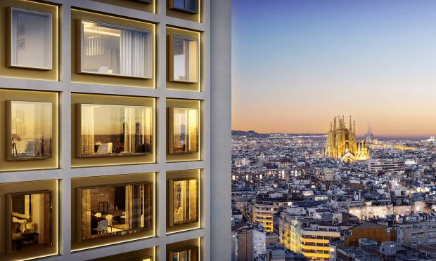 Mandarin Oriental Residences Barcelona are located in the former Deutsche Bank building on Passeig de Gràcia