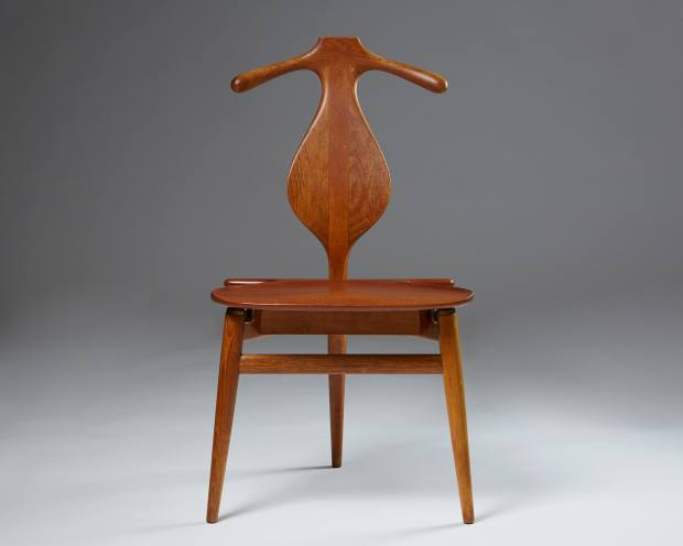 Modernity's teak and oak valet chair (1959), designed for Johannes Hansen by Hans Wegner
