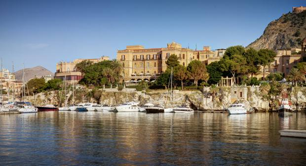 The grand Villa Igiea with its views of the harbour at Palermo