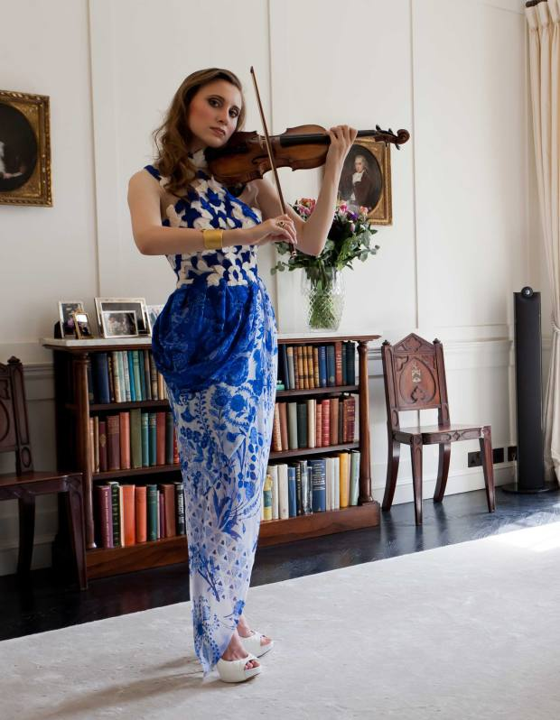 London Music Masters Award Laureate Jennifer Pike plays at the London home of Victoria Sharp, chief executive of LMM. Styling by Fabio Immediato. Jennifer pike wears Rodarte dress, £5,690 from www.thecorner.com. Gina shoes, £590 (www.gina.com). Elizabeth Gage ring, £5,100 (www.elizabeth-gage.com). Atelier Zobal cuff, £14,075, from Talisman Gallery (www.talismangallery.co.uk).