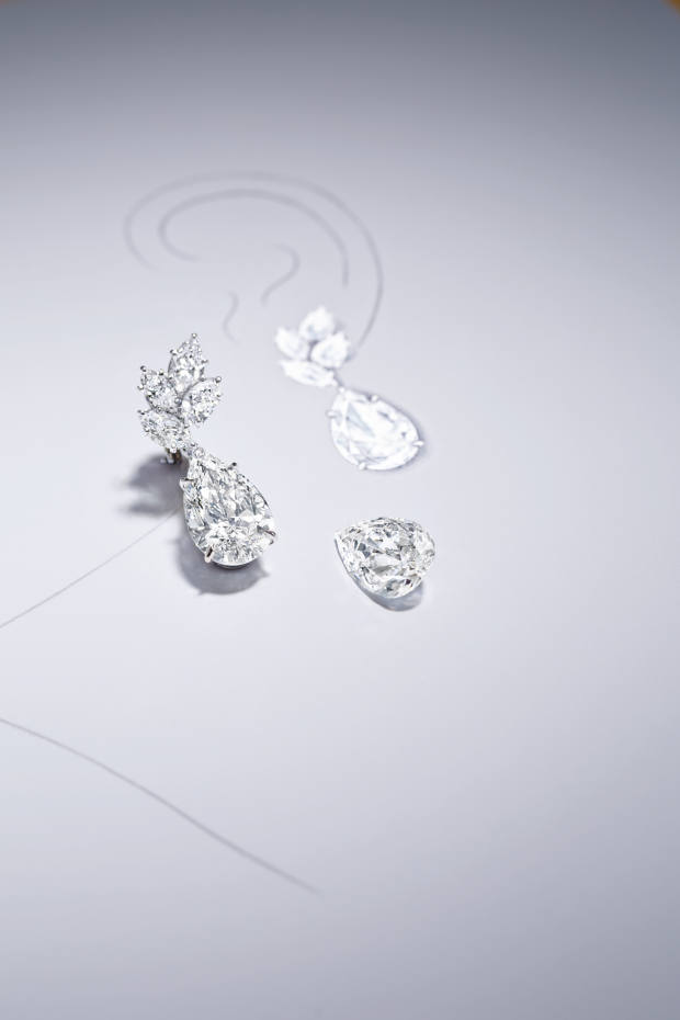 The earrings in the Legacy collection are set with stones of over 4ct each