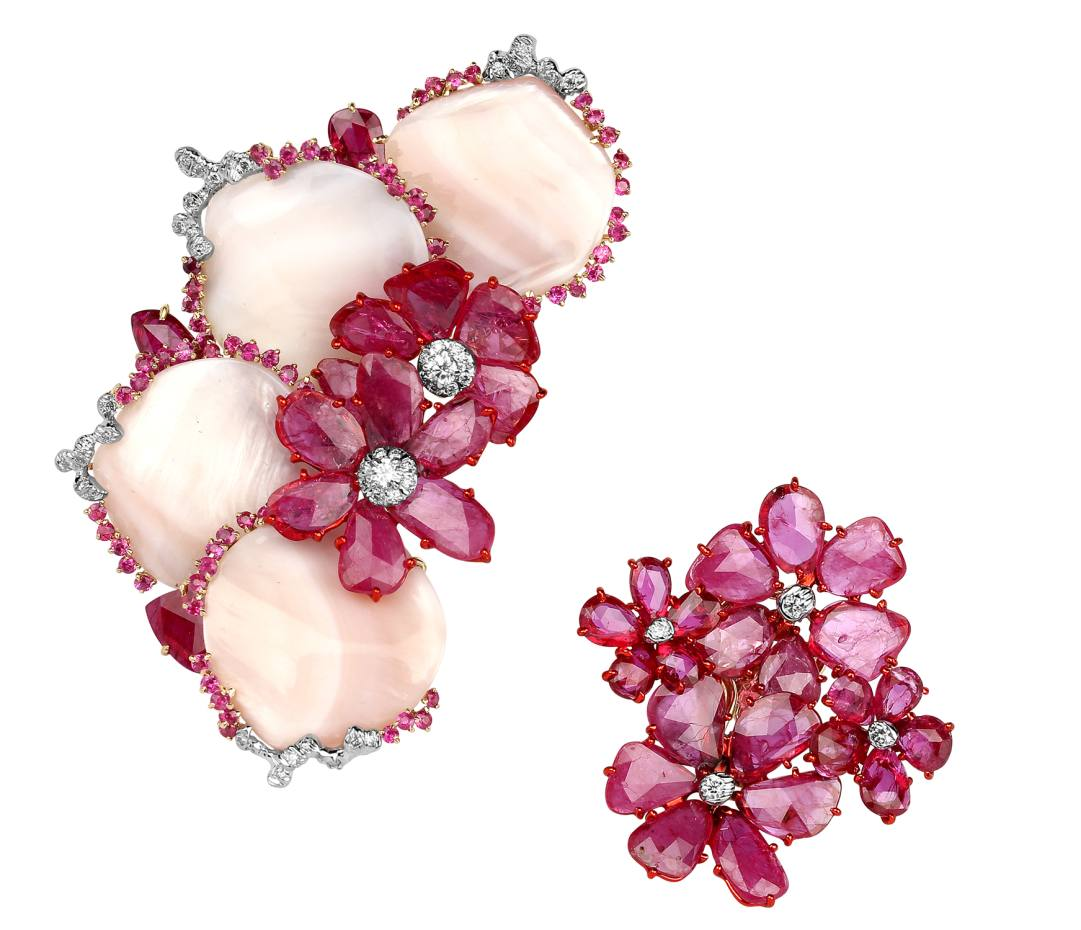 Gold, diamond, ruby and pink mother-of-pearl mismatched earrings; collection £4,500-£60,000