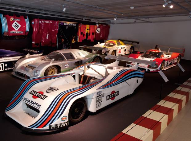 Part of the race-car collection, with (clockwise from far left) 1985 Sauber-Mercedes C8, 1982 Aston Martin Nimrod, 1985 Mazda 737C, 1993 Toyota TS010 Le Mans and 1982 Lancia-Abarth LC1 Sport Spider