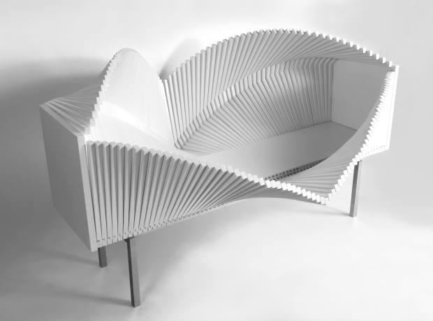 Sebastian Errazuriz birch, steel and glass Wave cabinet, $72,000