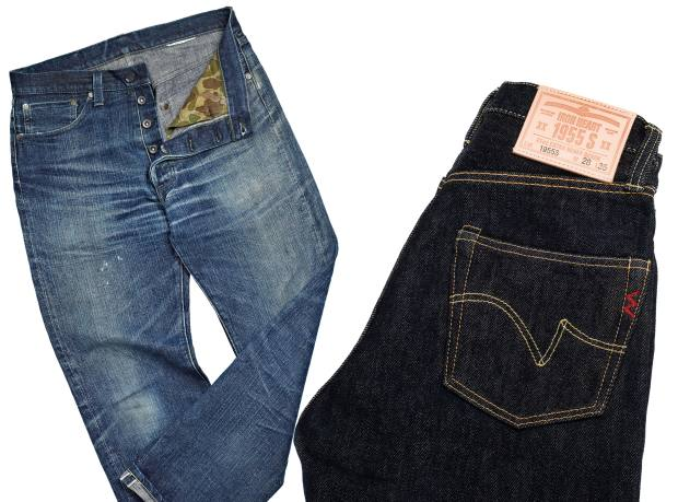From left: Mister Freedom Californian Lot 64 Okinawa jeans (shown worn, not as sold), $329.95, Iron Heart 1955S jeans, £240