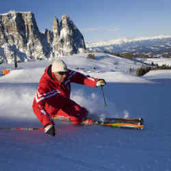 Skiing on the Alpe di Siusi in the Dolomites, which has a new funicular.