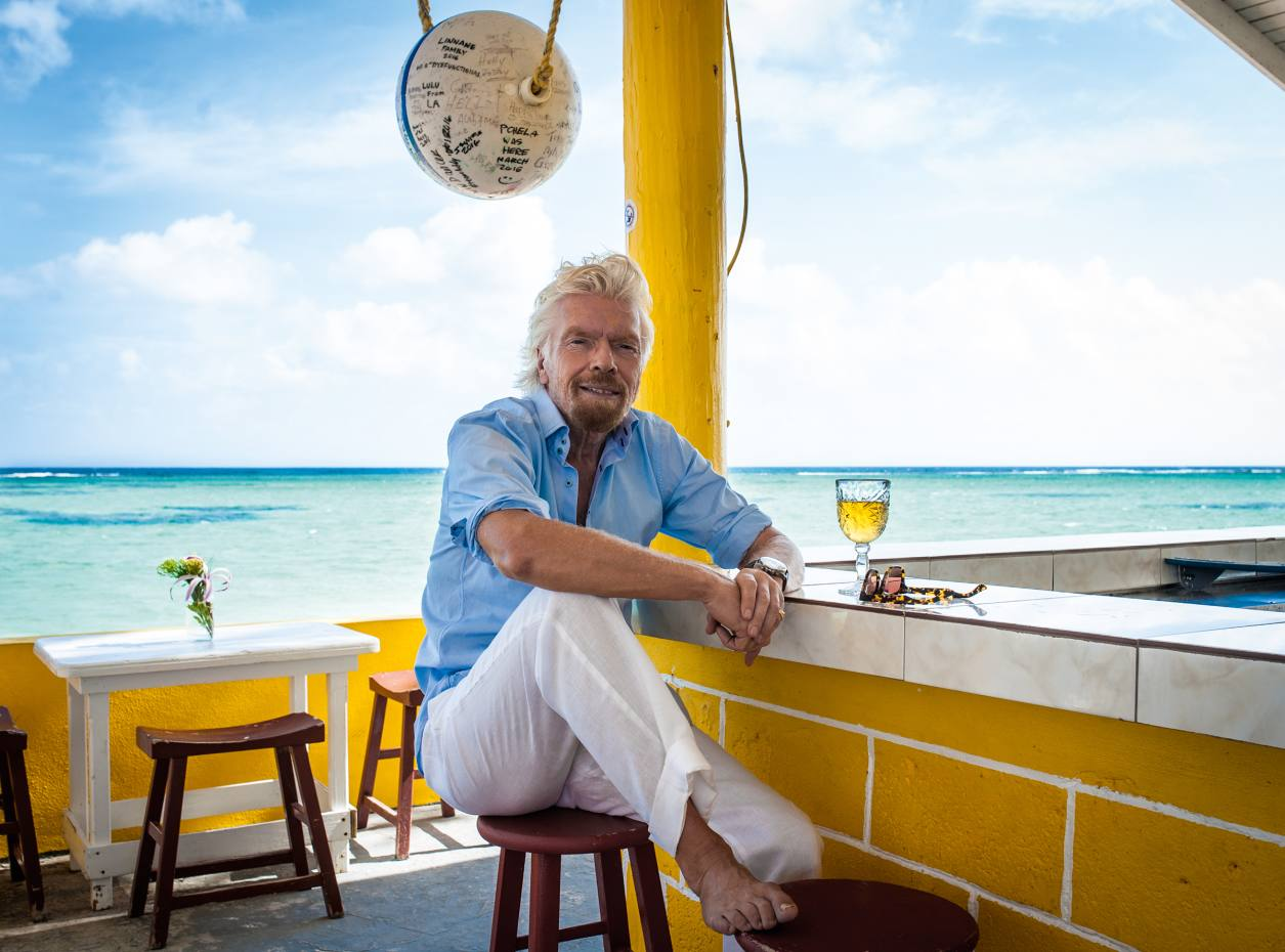 Richard Branson at Cow Wreck Beach Bar on Anegada
