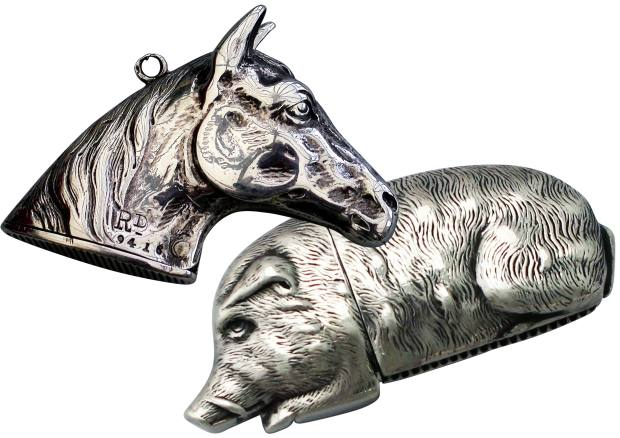 From left: 1884 silver horse's head vesta case, £1,950 at Steppes Hill Farm Antiques. Victorian silver wild boar case, £1,495 atAC Silver