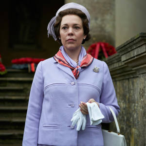 Olivia Colman as Queen Elizabeth II – complete with trademark handbag – in the third season of The Crown