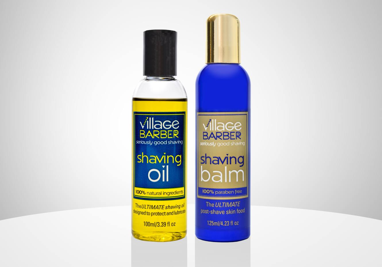From left: Village Barber Shaving Oil, £17.95 for 100ml; and Shaving Balm, £19.95 for 125ml