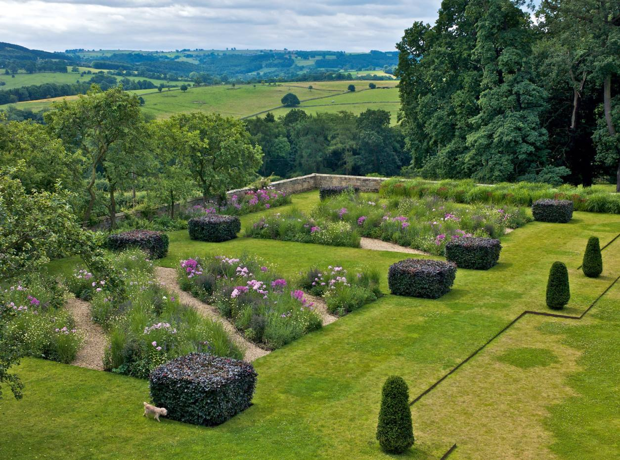 The rooftop view of the Arne Maynard sunken lawn at Bowling Green, Derbyshire.