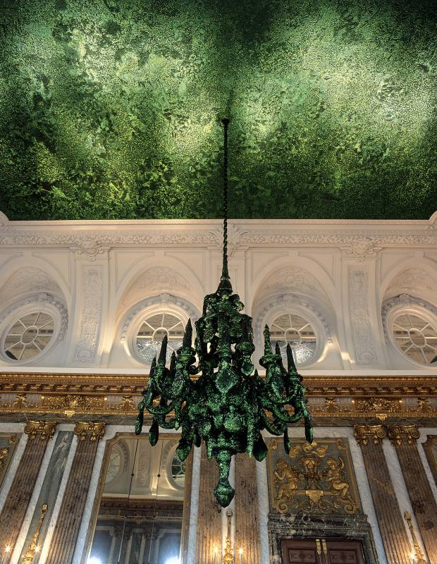 Jewel-beetle-wing-case Heaven of Delight installation by Jan Fabre in the Mirror Room at Brussels' Royal Palace