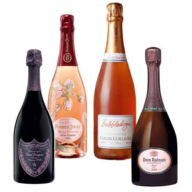 From left: the seductively savoury Dom Pérignon Rosé 2005, £259.95. Perrier-Jouët Belle Epoque Edition Automne 2005, £175, a full-bodied rosé that pairs well with rich food. The house cuvée, £60, of London champagne-and-hotdogs diner Bubbledogs, created by Sillery growers Collin-Guillaume. Dom Ruinart Rosé 2002, £225, chosen by master of wine Essi Avellan as her top champagne of 2015