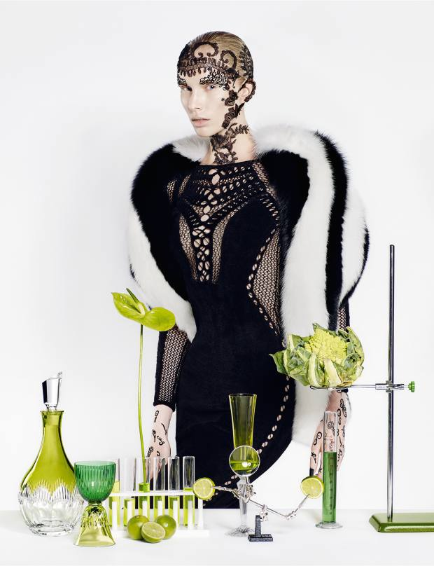 Philipp Plein fox fur stole, £4,046. Julien Macdonald wool jumpsuit, £3,500From left: Waterford crystal Mixology Neon decanter, £240. Saint-Louis crystal Les Endiablés Stella glass, £370. Baccarat crystal Mille Nuits champagne flute, £215