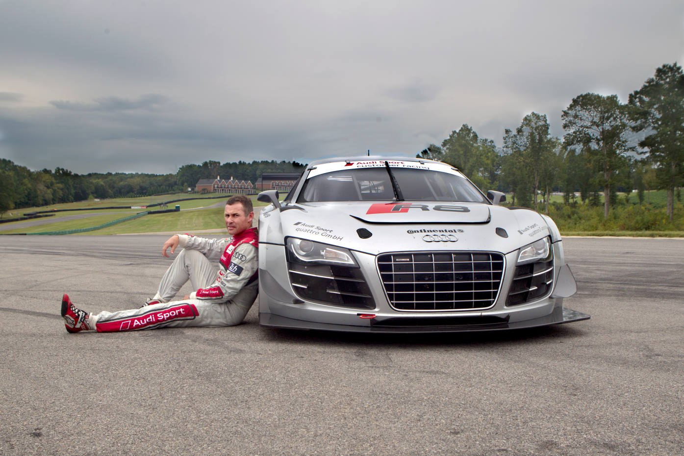 Tom Kristensen on the racecourse with an Audi R8