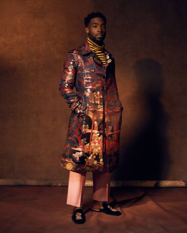 Gucci silk jacquard coat, £4,040, cotton rollneck, £480, wool trousers, £560, and crystal embroidered velvet and leather slippers, £725