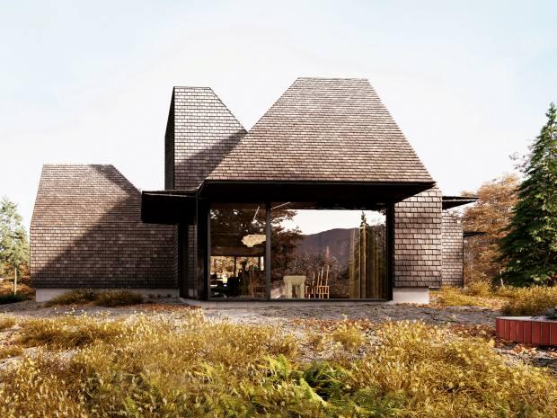 The surrounding Catskill Mountains inspired the irregular peaks of Corpus Studio's cabin in New York state