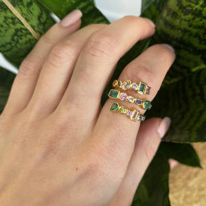 Sorellina Multi-Coil ring with diamonds and other stones in 18ct gold, $3,400