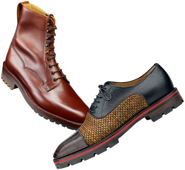 From left: Crockett & Jones leather Snowdon boots, £500. Christian Louboutin leather and raffia Oxfords, £865