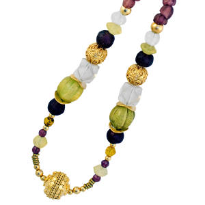 Ndau Collection gold vermeil, Vaseline bead, glass bead and brass bead necklace from the African Renaissance range, $330