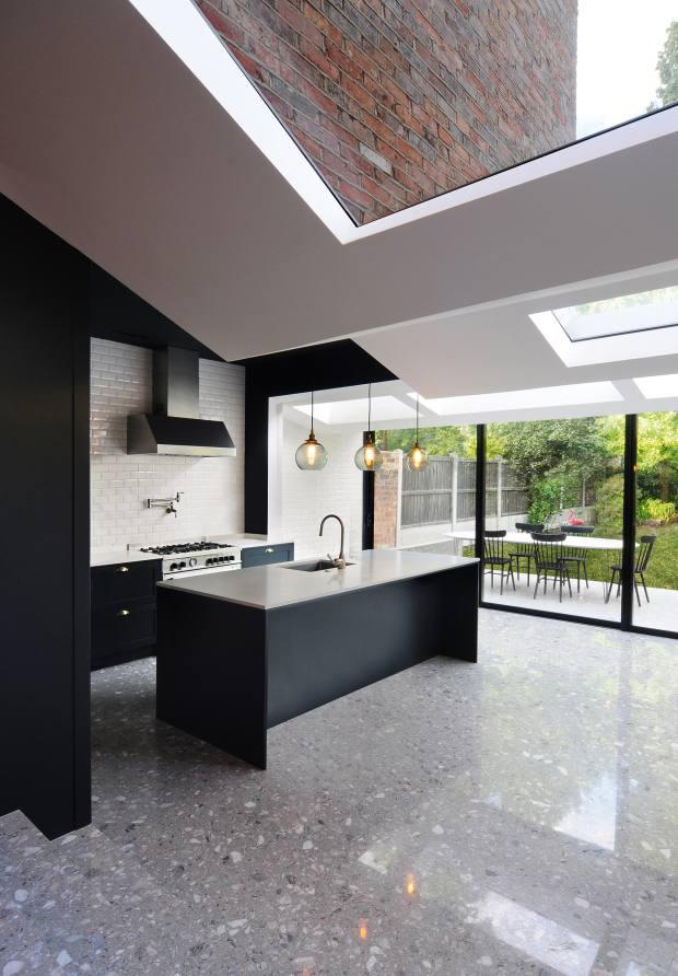 The kitchen extension Bureau deChange designed for this Crouch End home features folds and skylights in the ceiling, creating an intriguing play of light and shadow