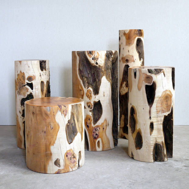 Max Lamb Yew Logs, £8,500 for five, from Gallery Fumi