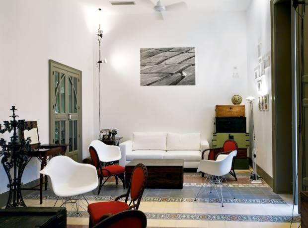 The living room of La Moresca, a converted art nouveau villa.