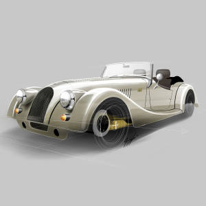 The Morgan Plus 4 70th Anniversary Edition 1, with platinum metallic paint bodywork and gold-coloured chassis