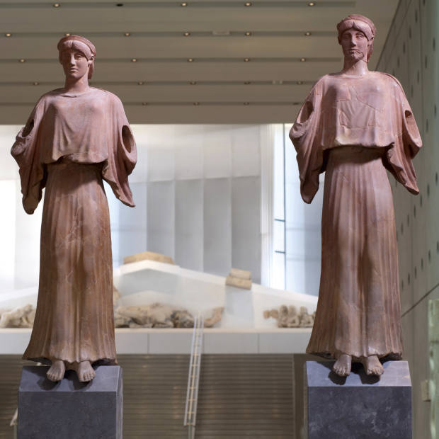 The two Nikes in the Gallery of the Slopes, the Acropolis Museum.