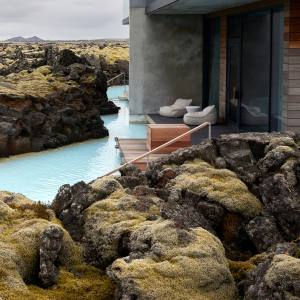 The Retreat at Blue Lagoon is set amid a landscape of 800-year-old lava flows