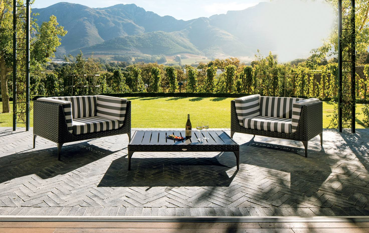 One of the luxury vineyard lodges with private garden at Leeu Estates in Franschhoek, South Africa