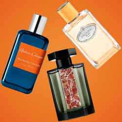 Clockwise from top: Prada Infusion Mandarine, £102.50 for 100ml EDP. L'Artisan Parfumeur Mandarina Corsica, £115 for 100ml EDP. Atelier Cologne Mandarine Glaciale, €110 for 100ml cologne absolue