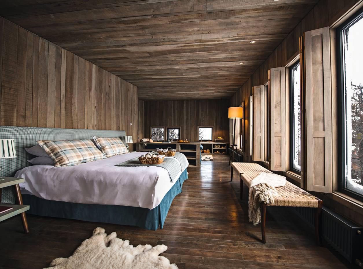 One of the villa bedrooms at Awasi Patagonia, Chile