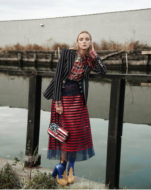 Marc Jacobs cotton blazer, about £1,055, silk and sequin shirt, about £325, organza and leather skirt, about £2,105, leather boots, about £1,395, and python and sequin bag, about £2,175
